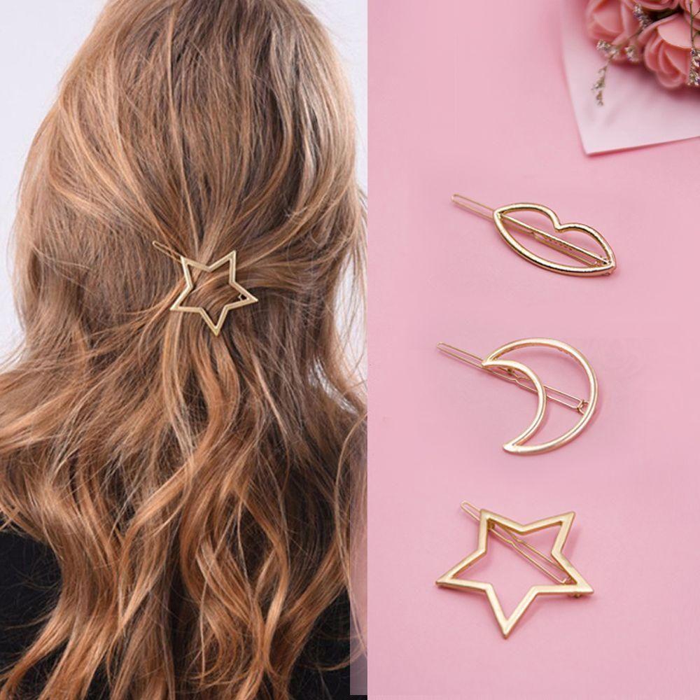 Women Fashion Hairpins Cute Circle Triangle Moon Lips Star Shape Girl Hair Clip Http Bit Ly Hair Clips Girls Fashion Hair Accessories Hair Accessories