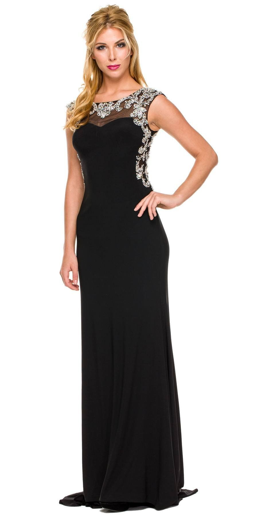 Floor length formal gown gold ity cap sleeve rhinestones products