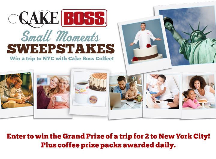 The Cake Boss Small Moments Sweepstakes is now on! There are great prizes including a trip for 2 to New York City and over 200 coffee prize packs!  Share your Small Moment with us and you can win! #cakebossmoments