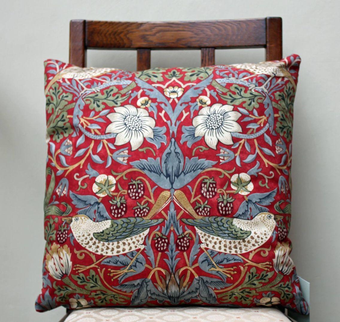 Strawberry thief cushion cover design by william morris decor