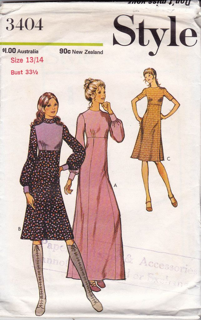 1970s Style 3404 High Waisted Dress or Maxi Vintage Sewing Pattern Kawaii Cute High Neck Full Sleeves Size 13/14 Bust 33 1/2 inches