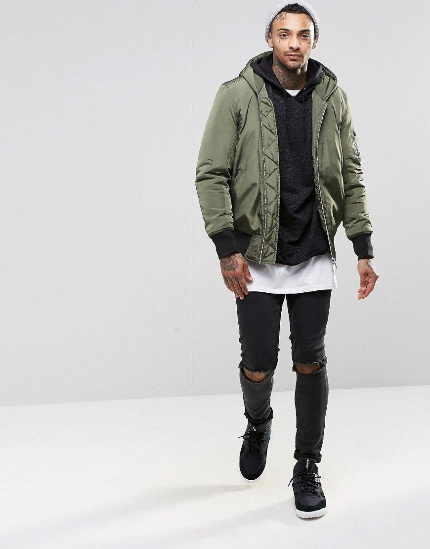 Hooded bomber jacket - Image 4 Of ASOS Hooded Bomber Jacket With MA1 Pocket In Khaki