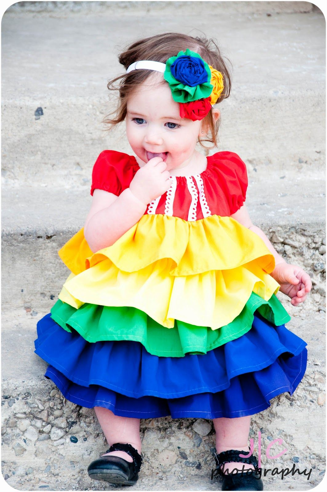 bbc18b6ed A rainbow ruffle dress for the baby
