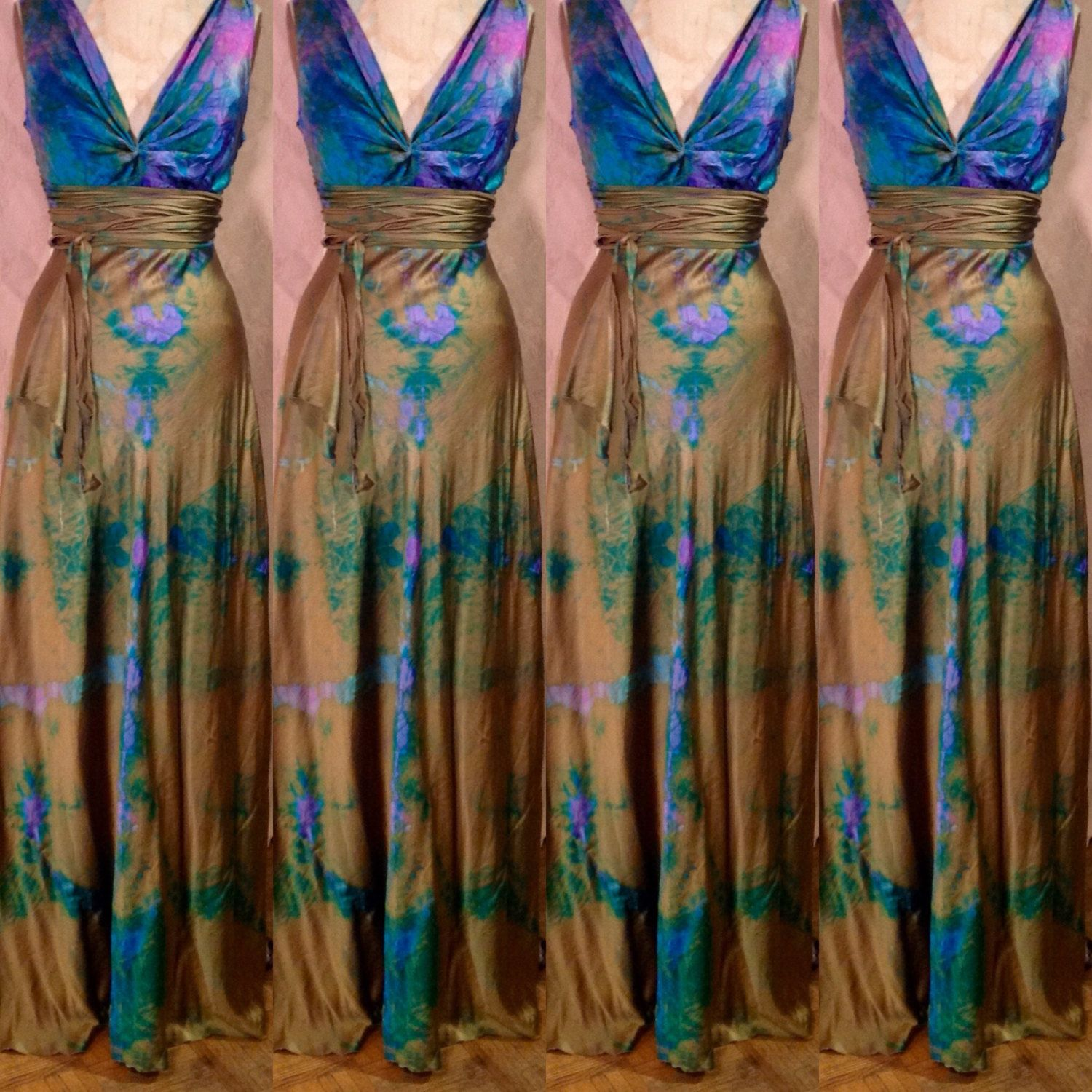 gold bronze pink blue turquoise green teal wedding dress Henry style ...