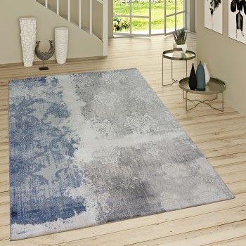 Der Hingucker schlecht hin Teppich Rokoko in Blau-Grau-Meliert