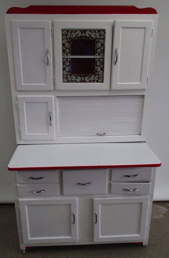 Perfect ANTIQUE MARSH HOOSIER CABINET BAKERS CABINET WITH SIFTER WHITE WASHED  REFINISHED #MARSH