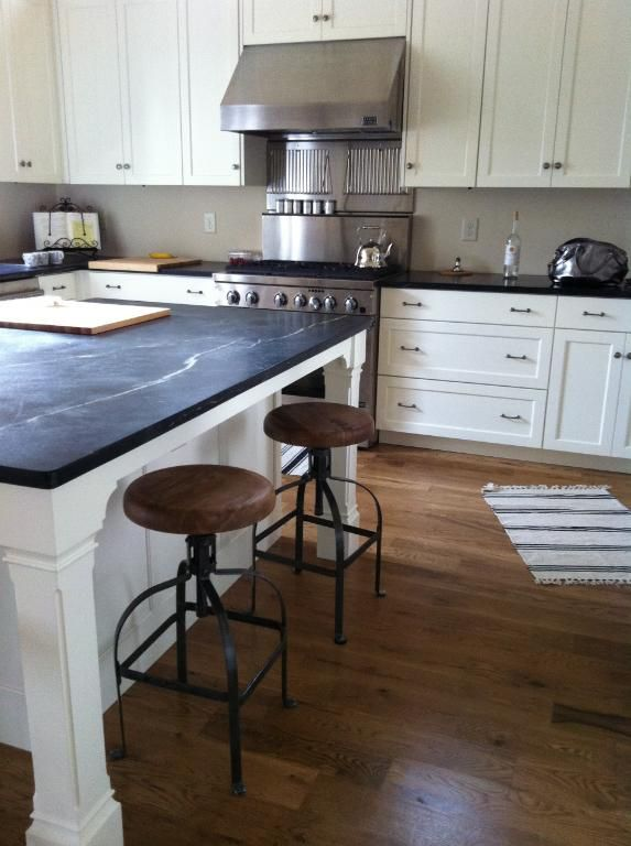 white cabinets and soapstone counters. love the extra ...