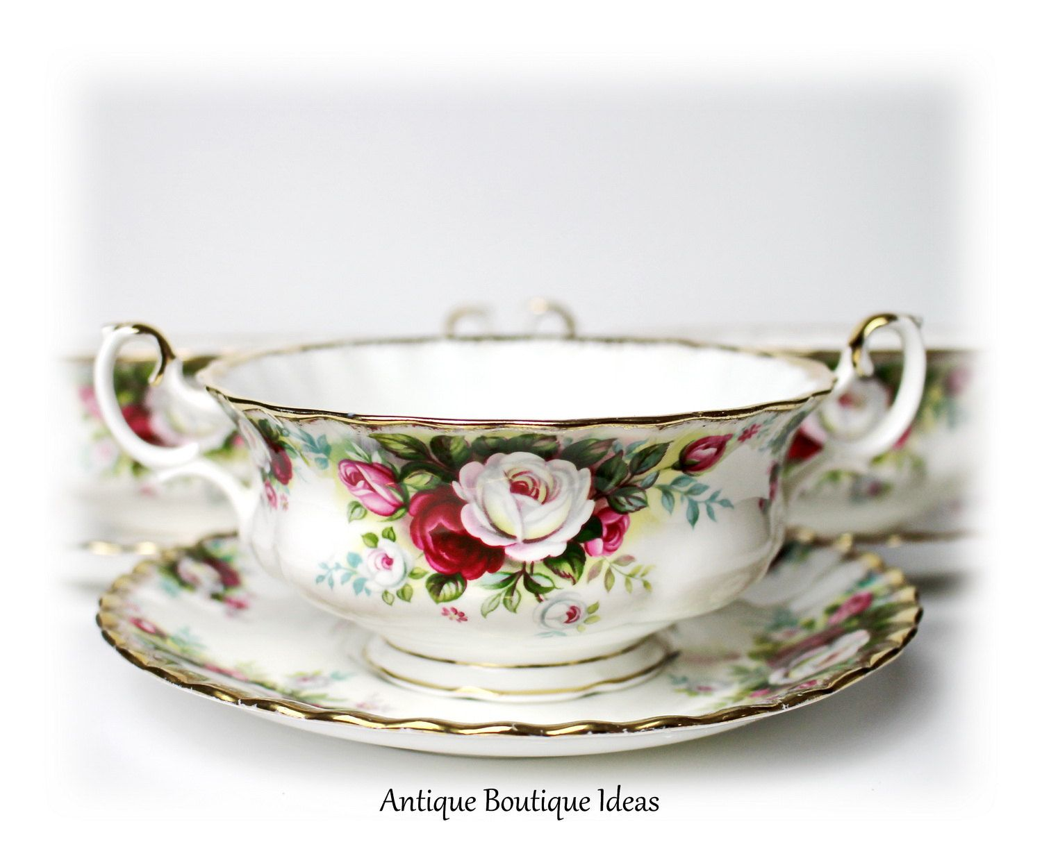 Lovely Vintage Soup Cup Bowl Royal Albert English Bone China Celebration Floral Decor Shabby Chic Roses Serving Dinnerware by AntiqueBoutiqueIdeas on Etsy