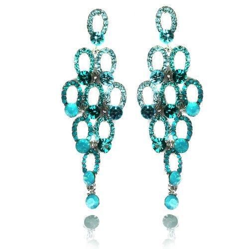 Lemonade Crystal Pretty Bubble Dangly Earrings Blue - 4EverBling
