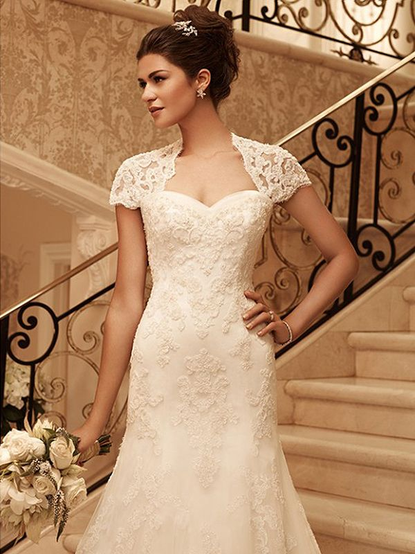 A-line Square Lace Satin Chapel Train Appliques Ivory Wedding Dresses at Millybridal.com
