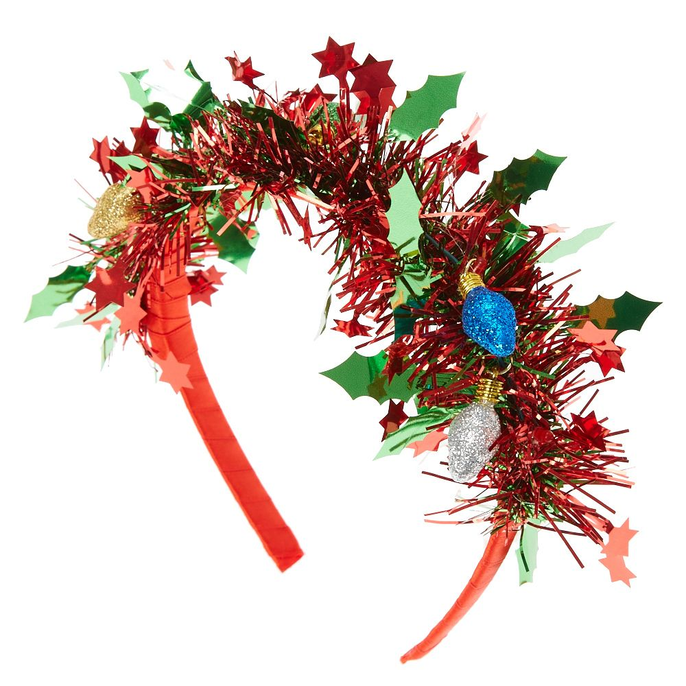 Lt P Gt Top Your Head Like A Festive Christmas Wreath Red Tinsel Accented With Colorful Light Bulbs Adds A Perk Christmas Wreaths Christmas Merry And Bright