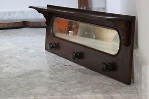 vecchio appendiabiti in legno da muro con specchio e mensola ... - Mensole Con Legno Vecchio