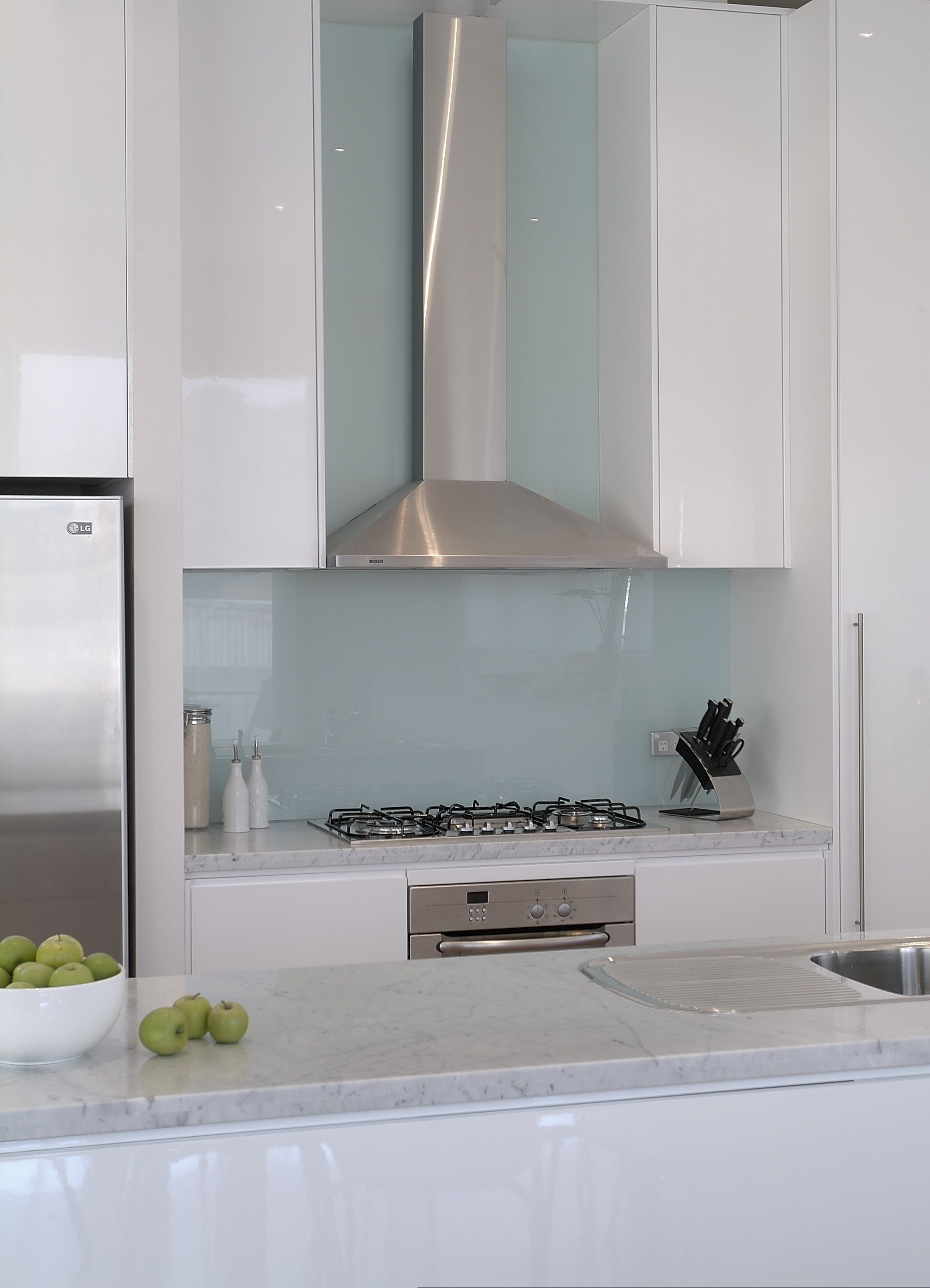 white cupboards, pale blue splash back | New Home Inspiration ...