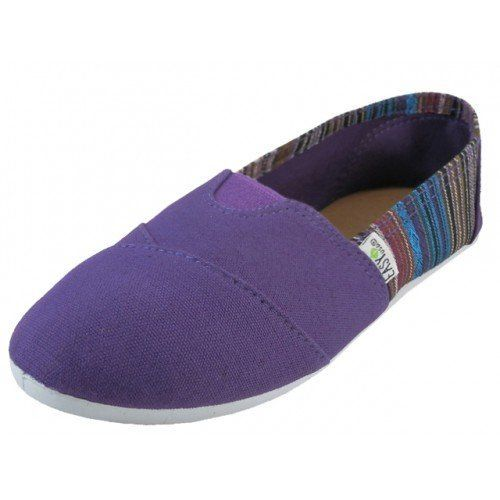 Womens Canvas Slip on Shoes Flats 2 Tone 10 Colors