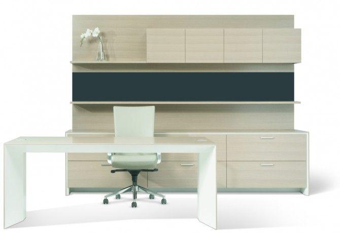 Aero Office Desk With Credenza Shelf, Overhead And Tackboard