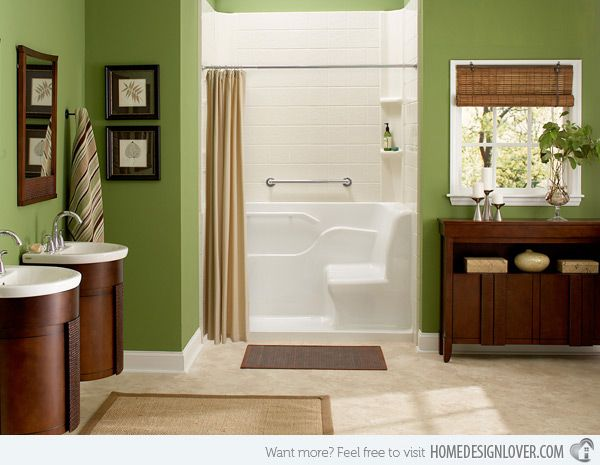 Superbe 18 Relaxing And Fresh Green Bathroom Designs |The Mixture Of Brown And  Green Color In