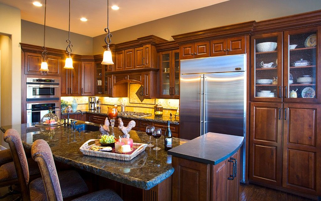 traditional kitchen remodel with multi level kitchen island alder wood species - Multi Kitchen Decorating