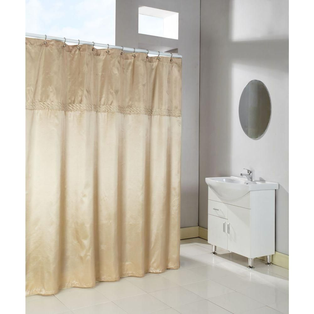 Cornice in horizontal embroidered shower curtain in almond and
