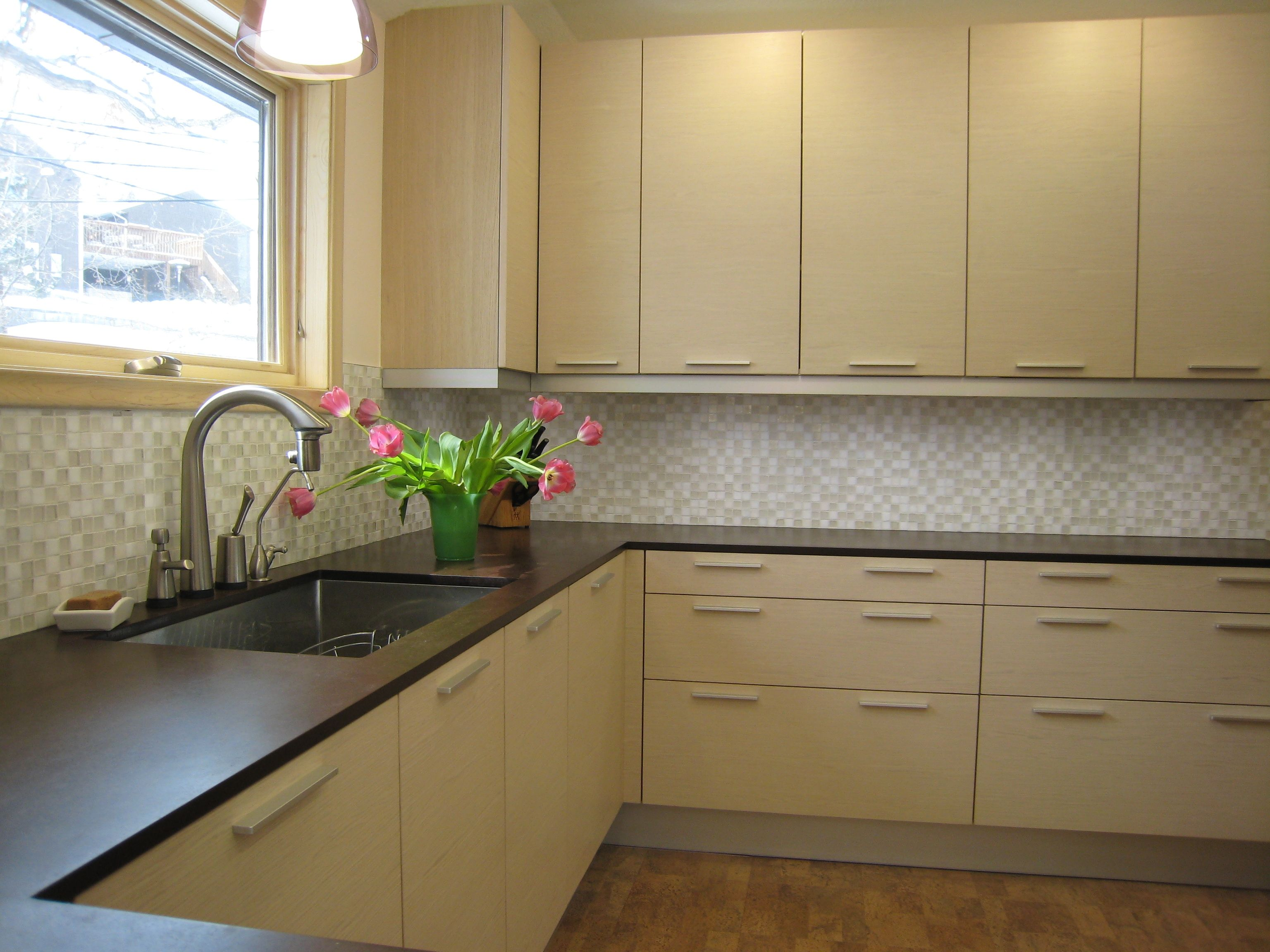 Paperstone Countertops With Light Wood Cabinets