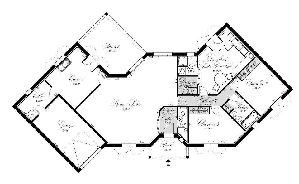 Plan achat maison neuve construire oc r sidences croix for Plan maison sud