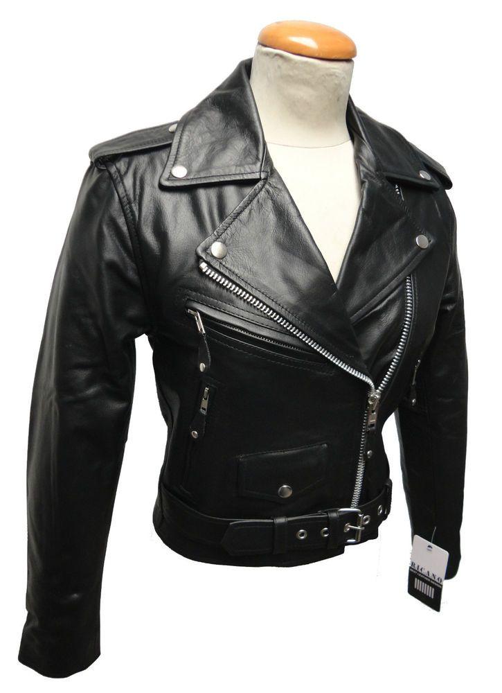 RICANO BRANDO, Echt Leder Damen Jacke, Rockabilly Biker, S M L XL XXL, schwarz