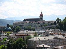 Vista de la Abadía de Nonnberg desde el cerro Kapuziner, Salzburgo.
