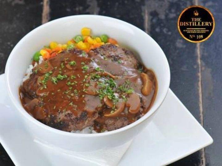 P199 Salisbury Steak with Rice + Bottomless Iced Tea