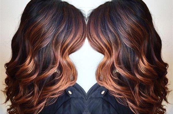 Wavy Dark Brown Hair With Copper Highlights Balayage Hair Hair Styles Hair