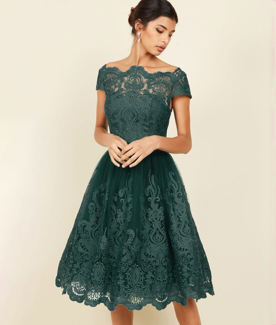0d8c1e86db3d61 Sukienka butelkowa zieleń koronkowa rozkloszowana midi balowa ...