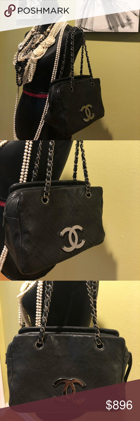 2a518cd7333c3a Chanel handbag Black CHANEL tote with silver front logo and chain ,have  original tag attached but been used and in excellent preowned condition CHANEL  Bags ...