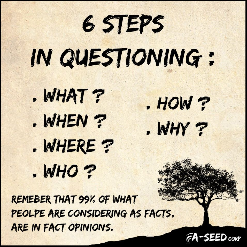 "A-Seed corp :""6 steps in questioning : What, When, Where, Who, How, Why. Remember that 99% of what people are considering as facts, are in fact opinions""."