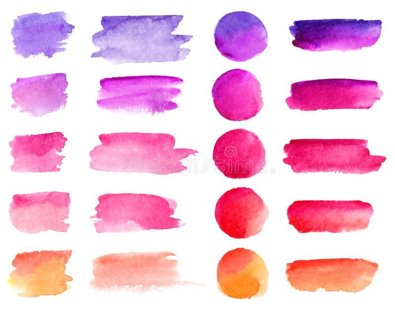 Colorful Vector Watercolor Brush Strokes Rainbow Colors