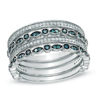 Fine Jewelry 1/2 CT. T.W. White and Color-Enhanced Blue Diamond 7-Row Band Ring Z8Wiz
