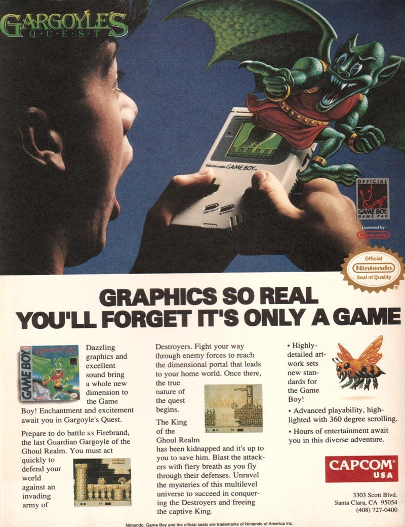 Gameboy color ad - This Is A Vintage Capcom Ad For The Game Boy Game Gargoyle S Quest That Promises Graphics So Real You Ll Forget It S Only A Game