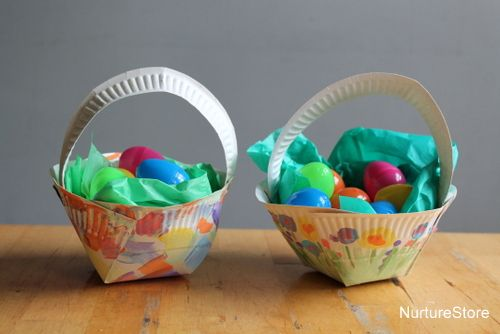 Paper plate Easter basket craft & Paper plate Easter basket craft | Basket crafts Easter baskets and ...
