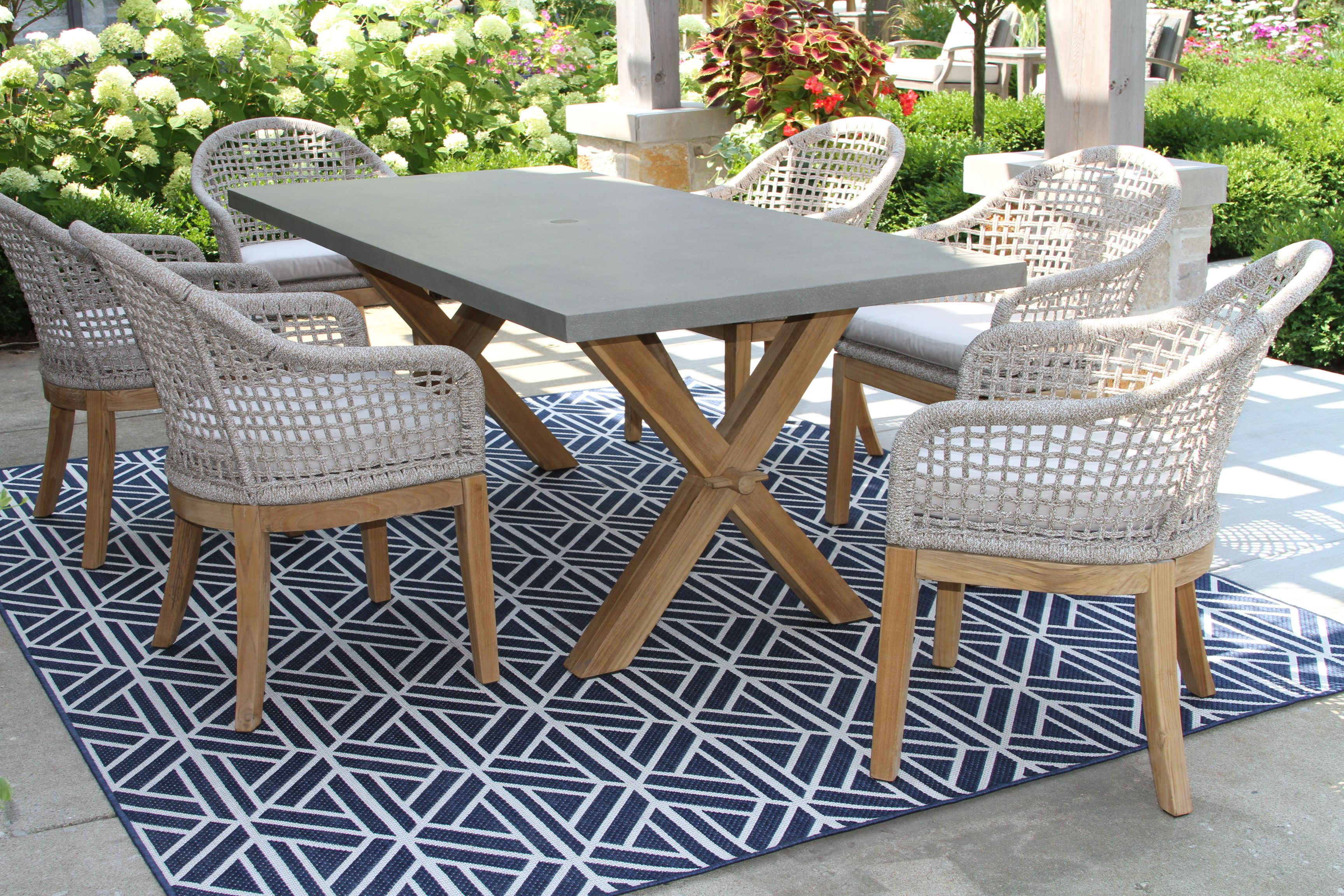 Rope Teak Dining Chair With Sunbrella Cushion 2 Pack And