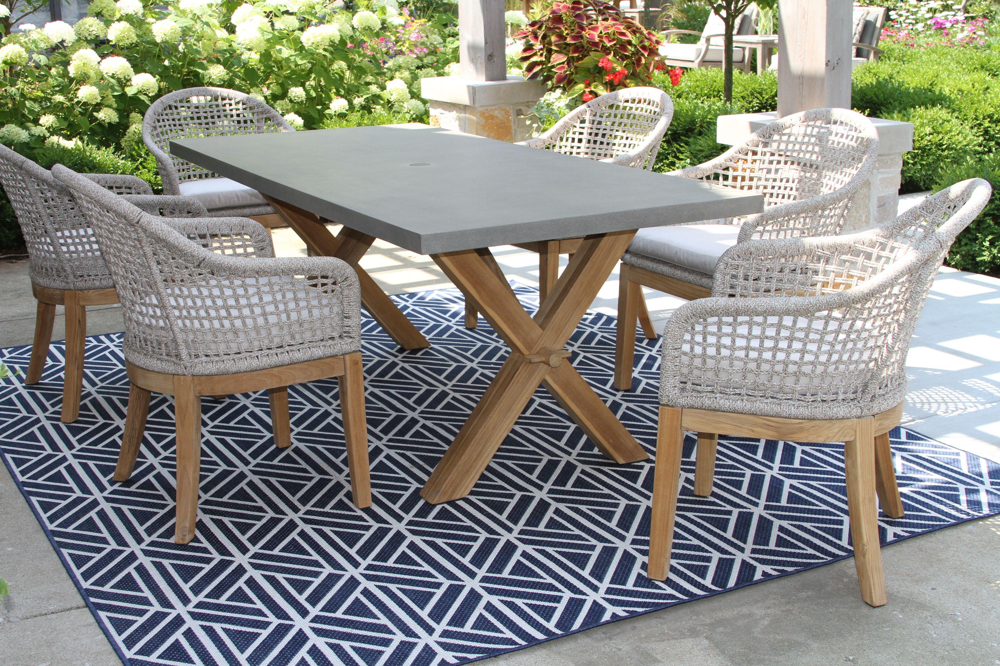 Rope Teak Dining Chair With Sunbrella Cushion 2 Pack And Composite Teak Dining Table Teak Dining Chairs Teak Dining Furniture Outdoor Dining Chairs