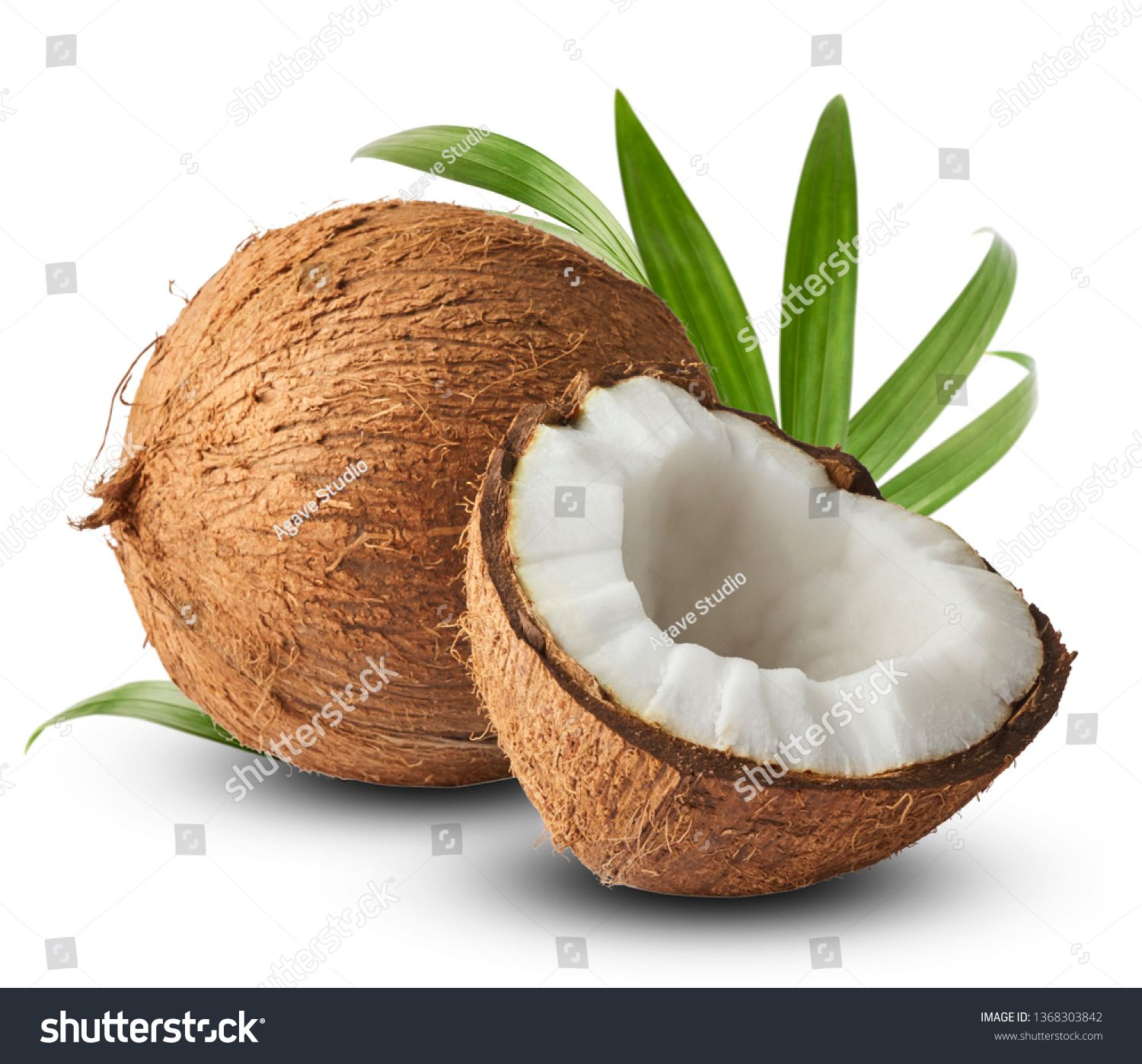Fresh Raw Coconut With Palm Leaves Isolated On White Background