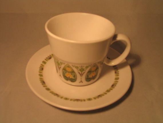 Noritake Palos Verde Cup Saucer 9020 60s 70s Mod Green Floral Retro Tableware Psychedelic Design D3