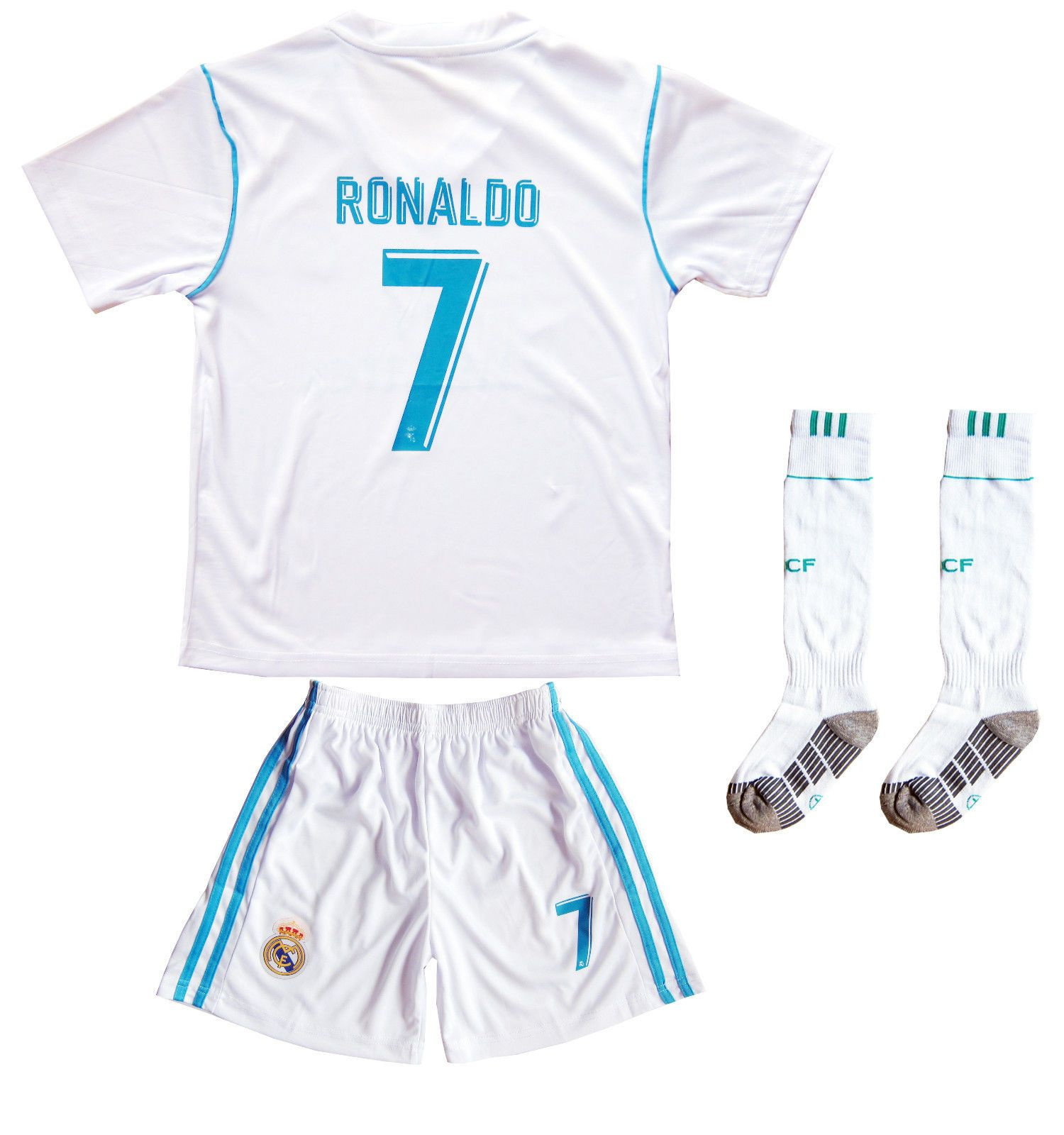 f53884f4807 Real Madrid Ronaldo  7 Home White Kids Soccer Jersey   Shorts Youth Sizes