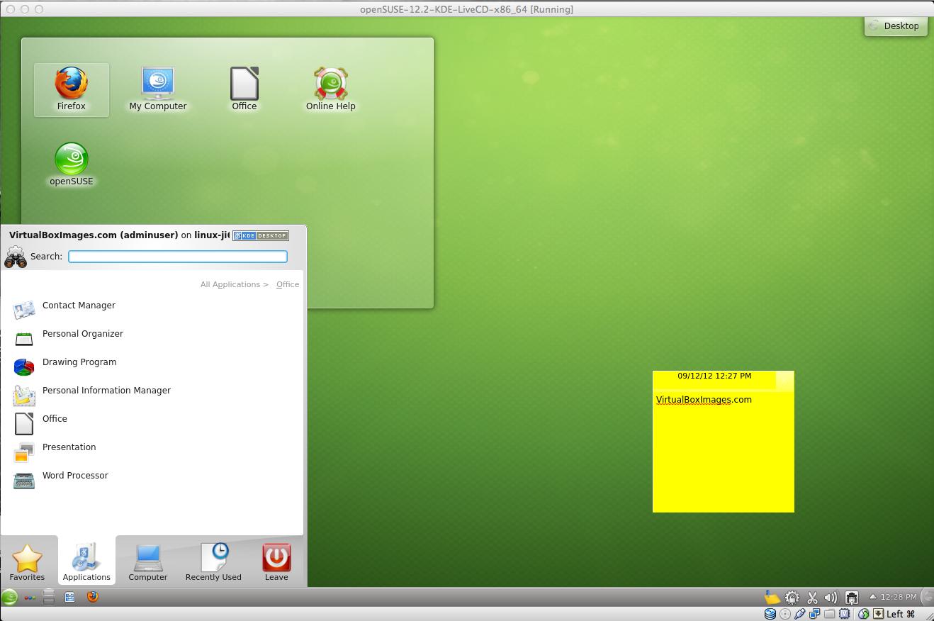 openSUSE 12 4 KDE x86_64 Desktop VirtualBox Virtual
