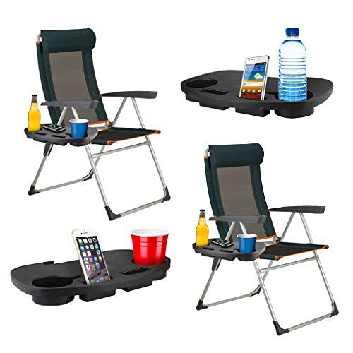 camping chairs with side table high top patio and chair garden clip on relax tray drinks holder 2 x portable tables lightweight sturdy strong durable