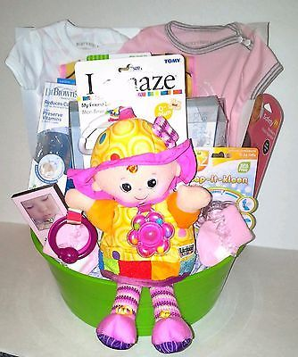 Pink and grey deluxe baby girl shower gift baskets all occasions pink and grey deluxe baby girl shower gift baskets all occasions 36 pieces negle Image collections