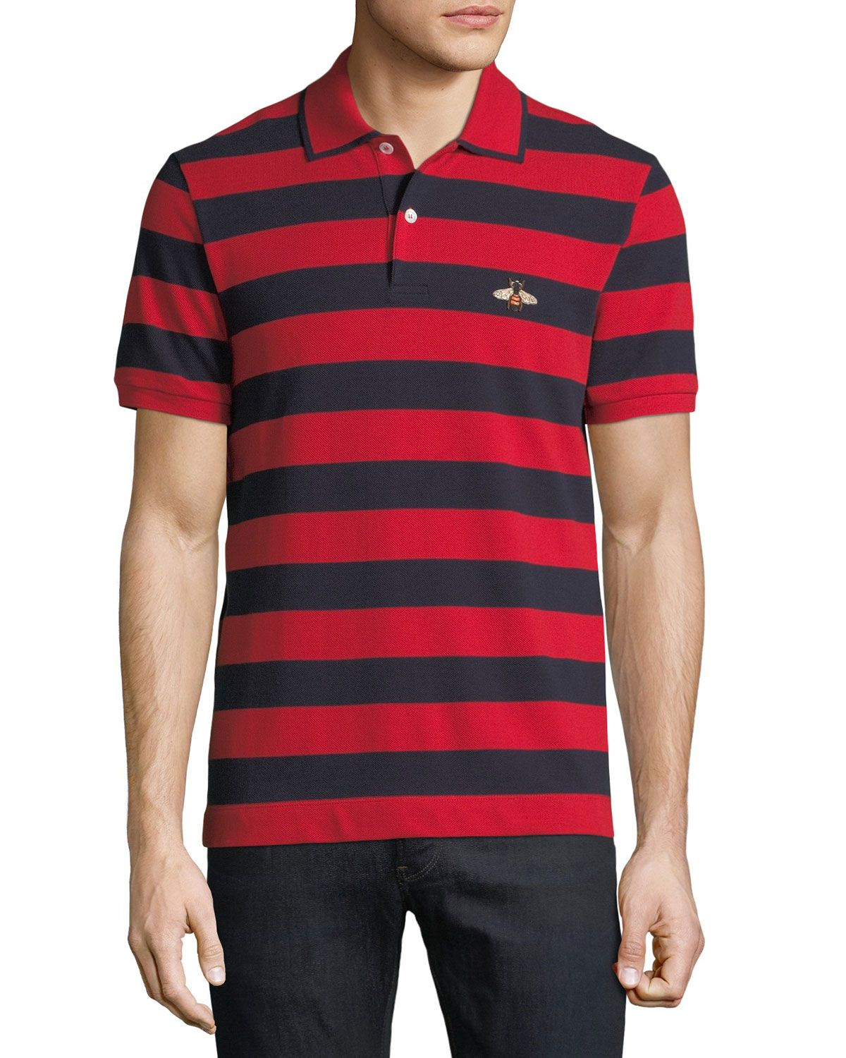 5386784f1d8 GUCCI STRIPED BEE-EMBROIDERED POLO SHIRT