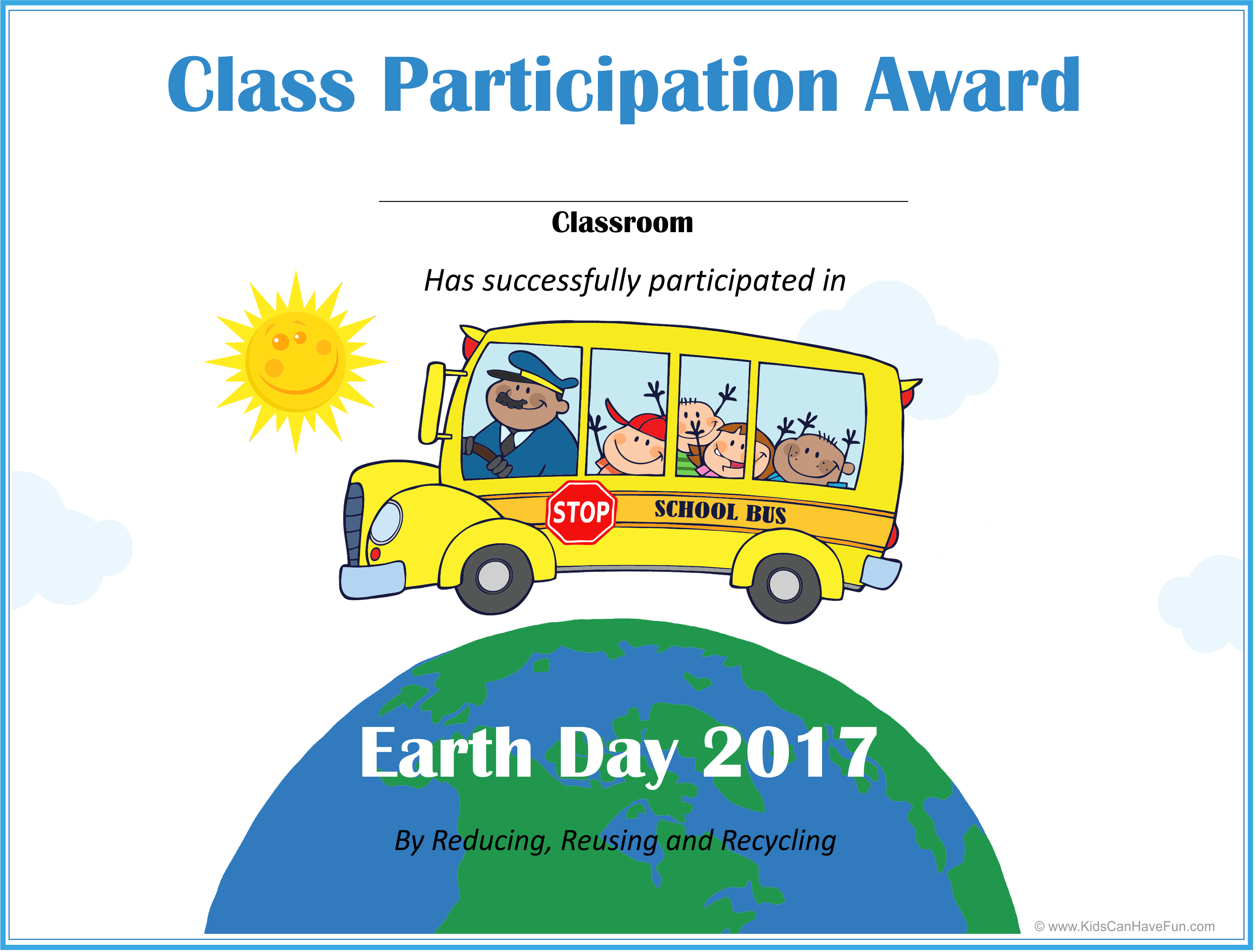 Earth Day Class Participation Award