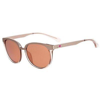 Óculos de Sol Calvin Klein Jeans Metal Prata com Lente Rosa - CKJ460S651 d9c6655c21