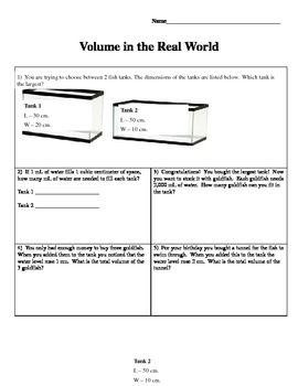 Real World Volume Problems Volume Math Word Problem Worksheets Teaching Volume