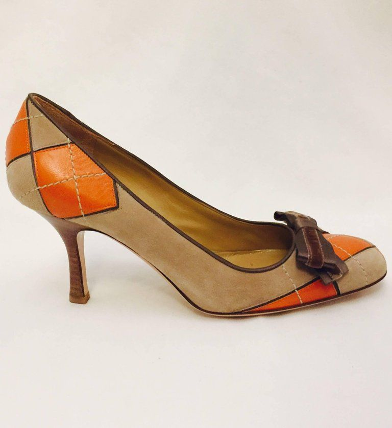 903bd5bbf95e Valentino Garavani Orange Leather and Beige Suede Argyle Pumps ...
