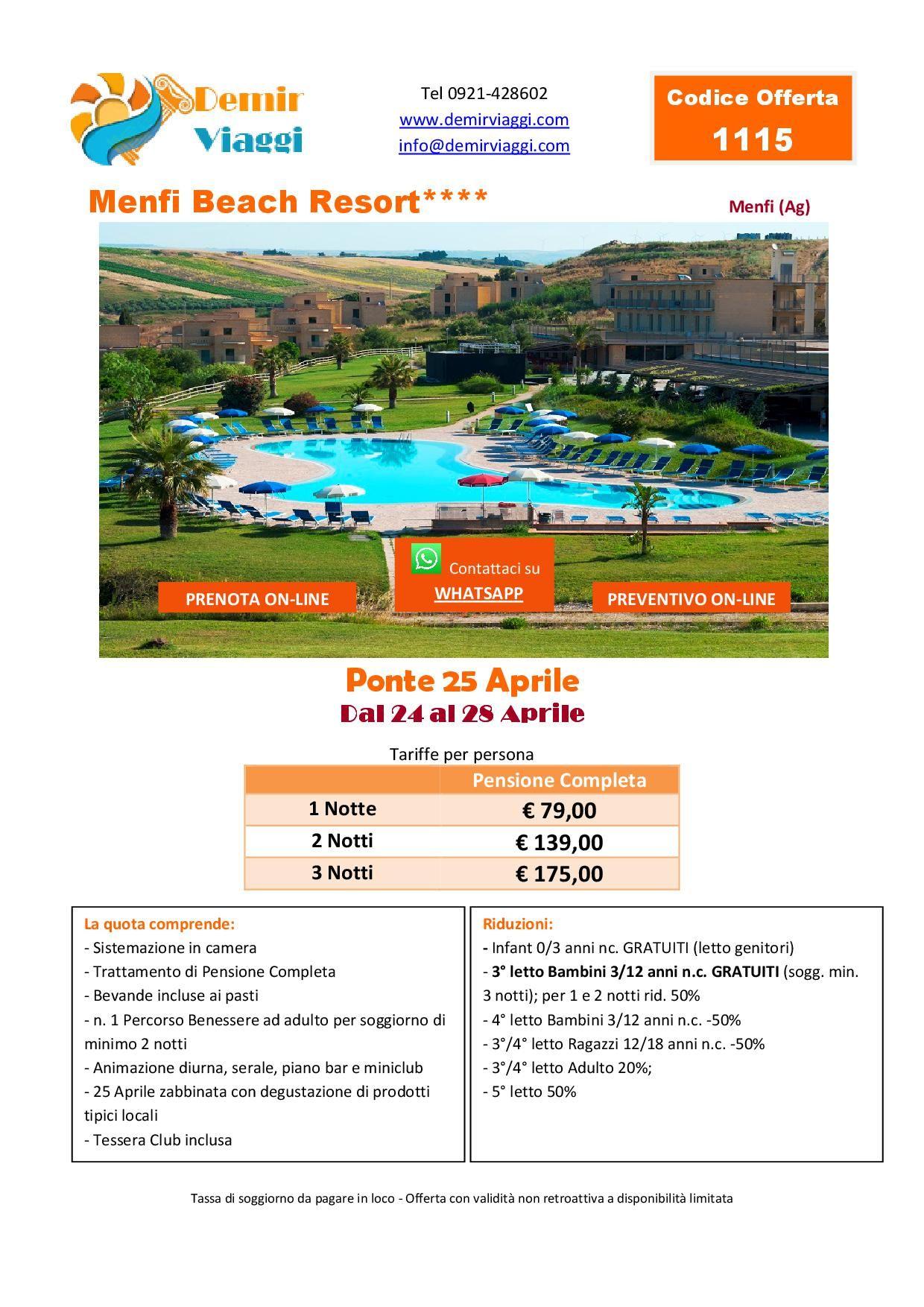 Menfi Beach Resort**** - Menfi (Ag) #Ponte25Aprile 2019 Per ...