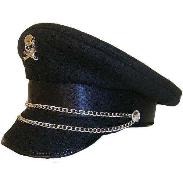 11ec29df SDL MILITARY CAP HAT GOTH STEAMPUNK 57 58 59cm SKULL BONE CROSS... ❤ liked  on Polyvore